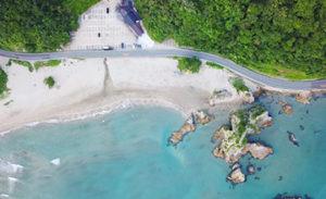 海岸の上空写真